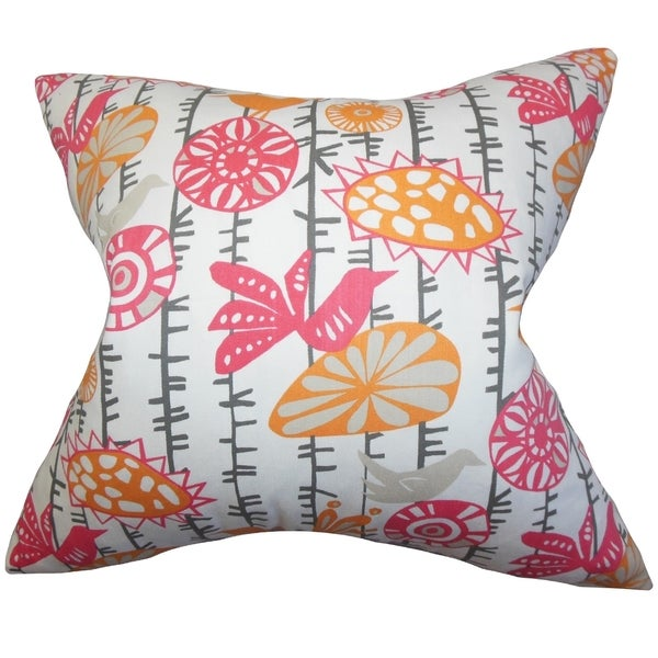 Nettle Floral Pink Feather Filled Throw Pillow