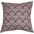 Paulomi Damask Black Pink Feather Filled 18-inch Throw Pillow