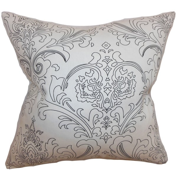 Uanita Floral Black White Feather Filled 18-inch Throw Pillow