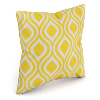 Poplar Geometric Yellow Feather Filled 18-inch Throw Pillow