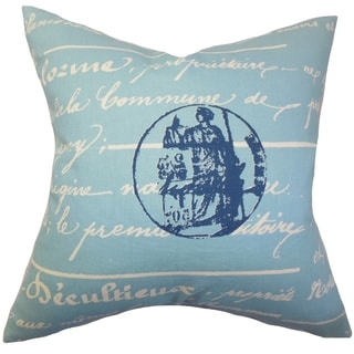 Saloua Typography Blue Feather Filled 18-inch Throw Pillow