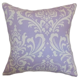 Malaga Damask Wisteria Feather Filled 18-inch Throw Pillow