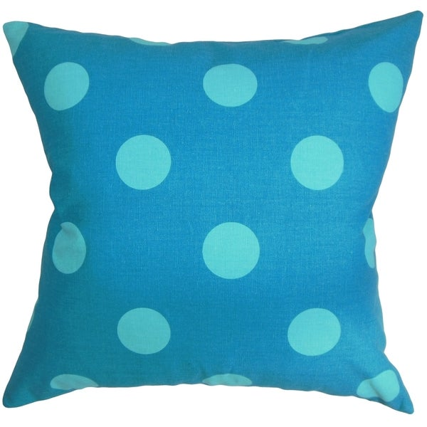 Rane Polka Dots Turquoise Blue Feather Filled Throw Pillow
