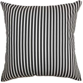 Elvy Stripes Black White Feather Filled 18-inch Throw Pillow