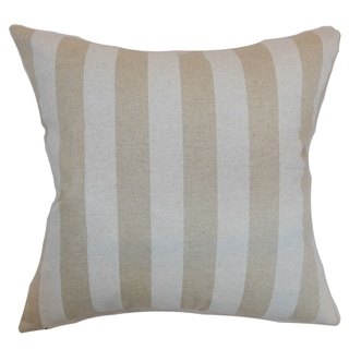 Ilaam Stripes Cloud Linen Feather Filled 18-inch Throw Pillow