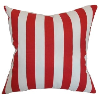 Ilaam Stripes Lipstick Feather Filled 18-inch Throw Pillow