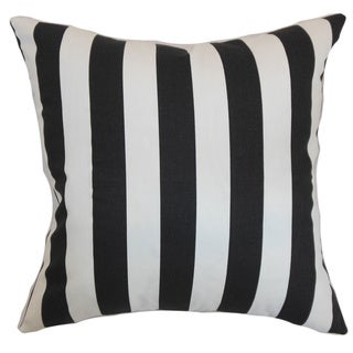 Ilaam Stripes Black Natural Feather Filled 18-inch Throw Pillow