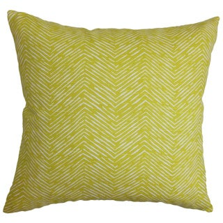 Edythe Zigzag Green Feather Filled 18-inch Throw Pillow