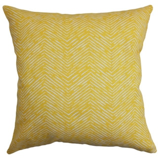 Edythe Zigzag Corn Yellow Feather Filled 18-inch Throw Pillow