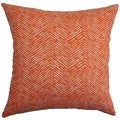 Edythe Zigzag Orange Feather Filled 18-inch Throw Pillow