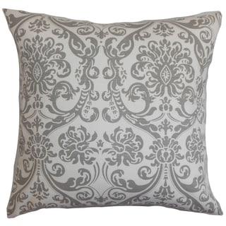 Saskia Damask Gray Feather Filled 18-inch Throw Pillow