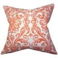 Saskia Damask Orange Feather Filled 18-inch Throw Pillow