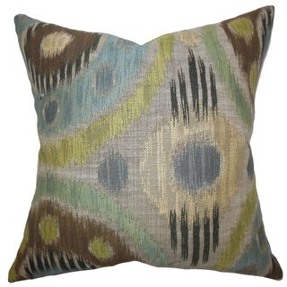Jakayla Geometric Blue Green Feather Filled 18-inch Throw Pillow