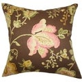 Kelila Floral Brown Feather Filled 18-inch Throw Pillow
