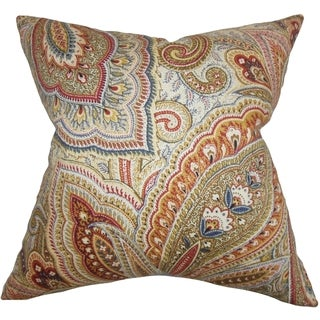 Lalage Paisley Multi Feather Filled 18-inch Throw Pillow