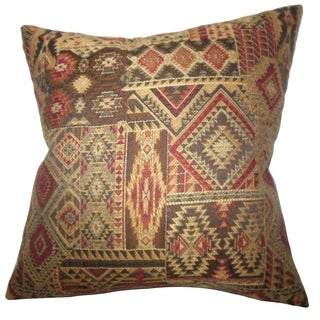 Gauri Geometric Brown Red Feather Filled 18-inch Throw Pillow