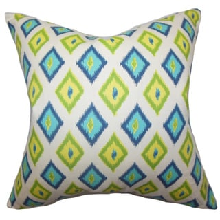 Ipomen Geometric Green Blue Feather Filled 18-inch Throw Pillow