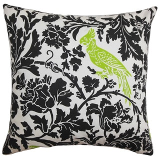 Gayndah Floral Black Chartreuse Feather Filled 18-inch Throw Pillow