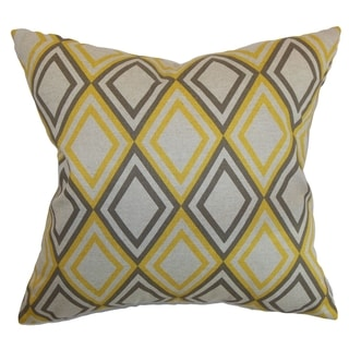 Eirunepe Geometric Yellow Kelp Linen Feather Filled 18-inch Throw Pillow