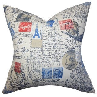 Winsome Typography Red Feather Filled 18-inch Throw Pillow
