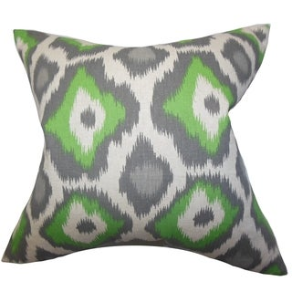 Becan Ikat Green Feather Filled 18-inch Throw Pillow
