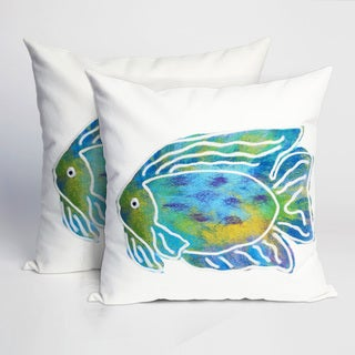 Painted Fish 20-inch Throw Pillow (Set of 2)