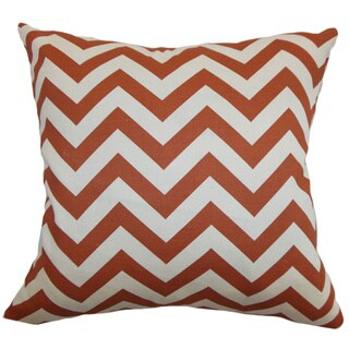 Xayabury Zigzag Adventurous Red Natural Feather Filled 18-inch Throw Pillow