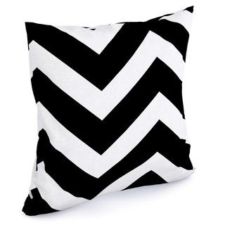 Eir Zigzag Black White Feather Filled 18-inch Throw Pillow