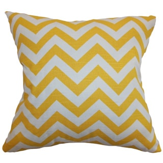Xayabury Zigzag Yellow White Slub Feather Filled 18-inch Throw Pillow