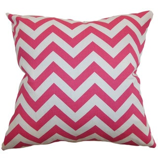 Xayabury Zigzag Candy Pink Feather Filled 18-inch Throw Pillow