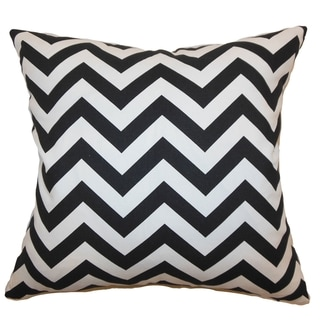 Xayabury Zigzag Black Feather Filled 18-inch Throw Pillow