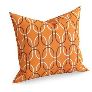 Ickitt Geometric Orange Feather Filled 18-inch Throw Pillow