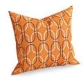 Ickitt Geometric Orange Feather Filled 18-inch Throw Pillow