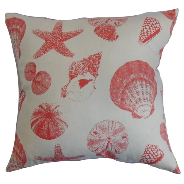 Rata Aquatic White Coral Feather Filled 18-inch Throw Pillow