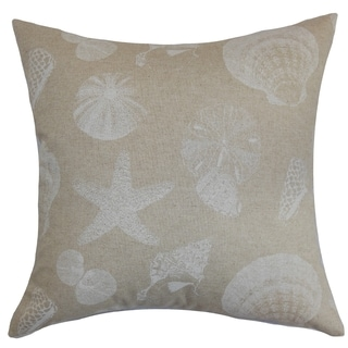 Rata Aquatic Cloud Linen Feather Filled 18-inch Throw Pillow