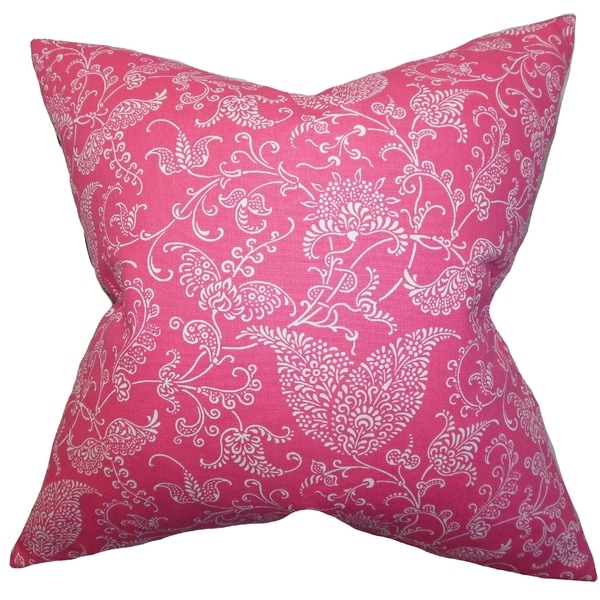 Aderyn Paisley White Pink Feather Filled 18-inch Throw Pillow