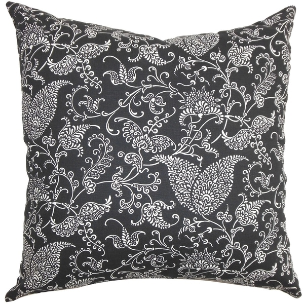 Alaine Paisley Black White Feather Filled 18-inch Throw Pillow
