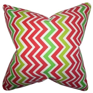 Howel Zigzag Pink Feather Filled 18-inch Throw Pillow
