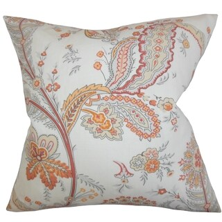 Dilys Floral Orange Feather Filled 18-inch Throw Pillow