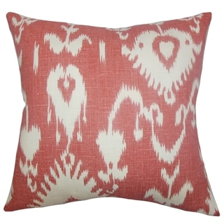 Cleon Ikat Red Feather Filled 18-inch Throw Pillow