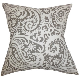 Nellary Paisley Ash Feather Filled 18-inch Throw Pillow