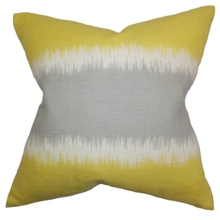 Juba Geometric Olive Feather Filled 18-inch Throw Pillow