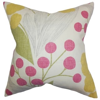 Geneen Floral Sangria Feather Filled 18-inch Throw Pillow