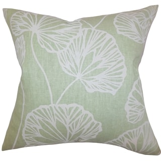 Fia Floral Green Feather Filled 18-inch Throw Pillow