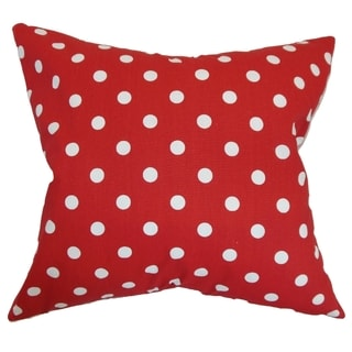 Nancy Polka Dots Lipstick Red Feather Filled 18-inch Throw Pillow