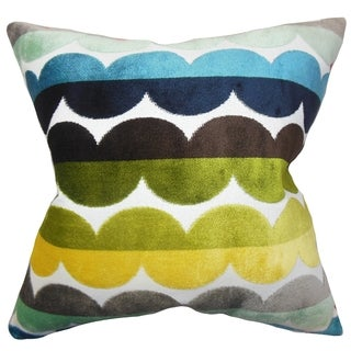Xoise Geometric Bright Feather Filled 18-inch Throw Pillow