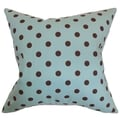 Nancy Polka Dots French Blue Feather Filled 18-inch Throw Pillow