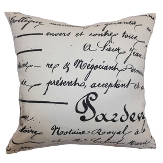Saloua Typography Onyx Natural Feather Filled 18-inch Throw Pillow