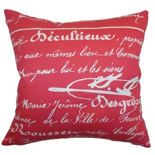 Saloua Typography Sherbet Twill Feather Filled 18-inch Throw Pillow