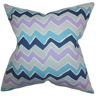 Achsah Zigzag Purple Blue Feather Filled 18-inch Throw Pillow
